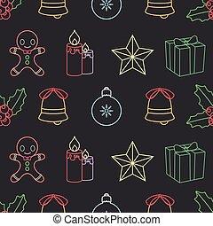 יסודות, תאר, תבנית, seamless, רקע, חג המולד