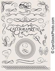 יסודות, calligraphic, קישוט, וקטור, עצב, עמוד, set: