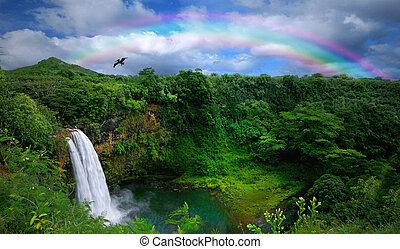 יפה, הציין, מפל, הוואי, הבט