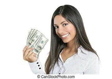 יפה, הצלחה, אישת עסקים, רואה, דולר, להחזיק