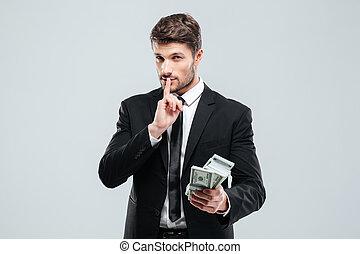 יפה, השתק, להחזיק כסף, חתום, להראות, איש עסקים, צעיר