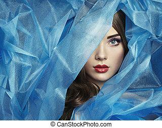 יפה, כחול, עצב, צילום, מתחת, צעיף, נשים