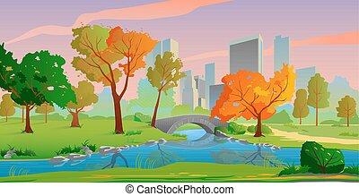 יפה, עיר, עצים, צהוב, סתו, שקיעה, colors., נוף של נחל