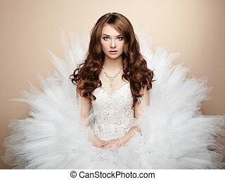 יפה, צילום, bride., דמות, חתונה