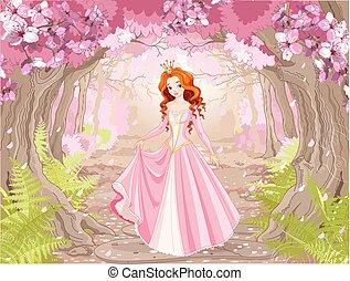 יפה, שיער, נסיכה, אדום