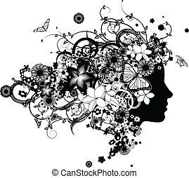 יפה, שיער, פרחים, אישה, עשה