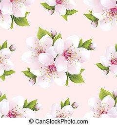 יפה, תבנית, פרחים, seamless, סאקארה