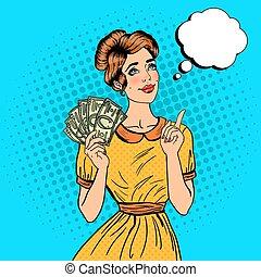 יפה, spend., על, אישה, אומנות, כסף, צעיר, קפוץ, איך, וקטור, דוגמה, לחלום