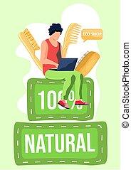 יצור, קניות, בזבז, טבעי, internet., מוצרים, שיער, מעץ, combs., אפס, care., eco