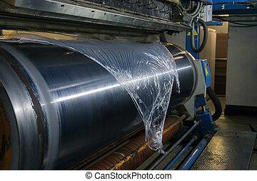 יצור, polyethylene., extrusion., נמוך, הסרט, film., מתוח, בופף, כימיקל, flat-slit, technology., מגורען, צפיפות