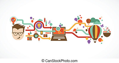 יצירתי, infographic, עצב, רעיון, המצאה