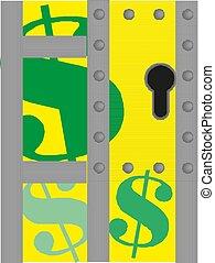 ירוק, חתום., וקטור, דולר, illustration.