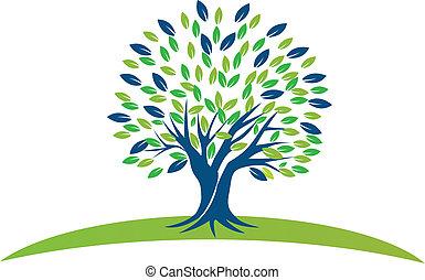 ירוק כחול, עץ, עלים, לוגו