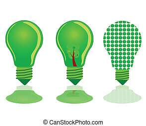 ירוק קל, שלושה, דוגמה, נורת חשמל