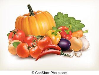 ירקות, הפרד, רקע., וקטור, טרי, לבן