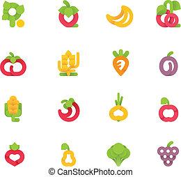 ירקות, וקטור, קבע, פירות