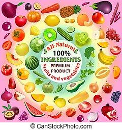ירקות, עינבים, קבע, חריתה, מרכיבים, פירות, צבעים, שונה, טבעי, איכות, דוגמה, פרמיה