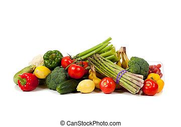 ירקות, פירות, רקע לבן, מגוון