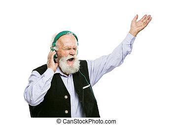 ישן, בעל זקן, מוסיקה מקשיבה, איש