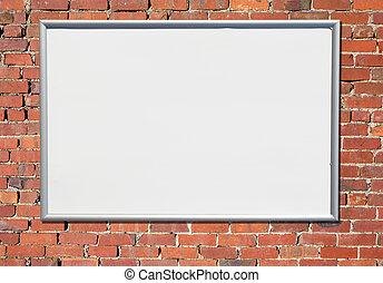 ישן, חתום, לוח מודעות, לבנה, wall., אדום