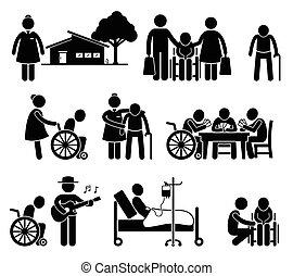 ישן, לאמון, מזדקן, הורים, בית דואג