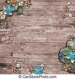 ישן, רקע, מעץ, פנינים, פרחים