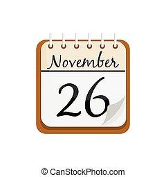 ישן, calendar., לוח שנה, נובמבר, 26, הודיה, day., ציור היתולי