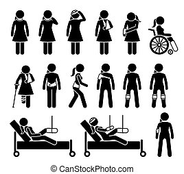 כאב, רפואי, accident., ורטופאדיכס, גוף, תמוך, מגיע, מוצרים, פגיעה