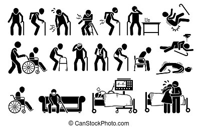 כאב, pain., פגע, גוף, איש, ישן, מפרק