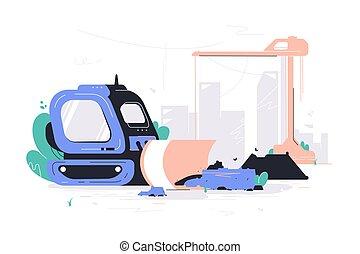 כבד, הריסה, בנין, machines., עבודה, בניה
