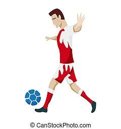כדורגל, אופי, להראות, כדורגל, jumping., actions., לבעוט, שחקן, שמח, וקטור, illustration., פשוט, כדור, סיגנון, לרוץ