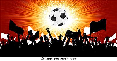 כדור, דחוס, fans., הכנסה לכל מניה, צלליות, 8, כדורגל