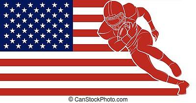כדור, כדורגל, לרוץ, רקע., דגלל, אמריקאי