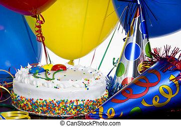 כובעים של מפלגה, יום הולדת, בלונים, עוגה