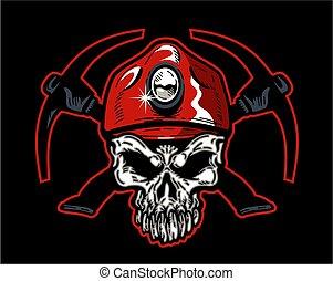 כובע, כורה, פחם, גולגולת, אדום