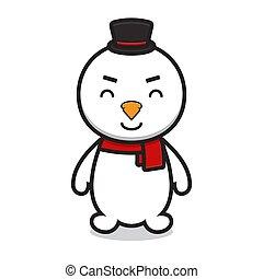 כובע, ללבוש, חמוד, אופי, ציור היתולי, איש שלג