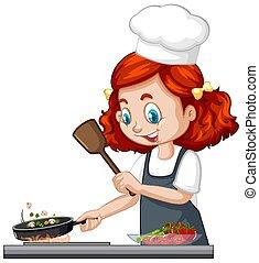 כובע, ללבוש, ילדה, אופי, טבח, חמוד, אוכל, בישול