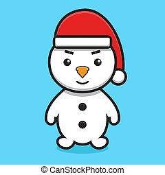 כובע, ללבוש, סנטה, חמוד, אופי, ציור היתולי, כלאאס, איש שלג