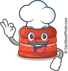 כובע, ללבוש, ציור היתולי, אופי, דובדבן, לבן, macaron, חמוד, טבח