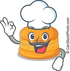כובע, ללבוש, תפוז, ציור היתולי, אופי, לבן, macaron, חמוד, טבח