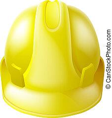 כובע, קשה, בטיחות, צהוב, קסדה