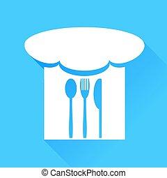 כובע של טבח, מזלג, סכין, כף