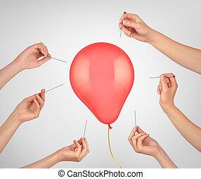 כוון, הרבה, risk., מחטים, החזק, 3d, מושג, הבלט, balloon., דוגמה, ידיים, ממן