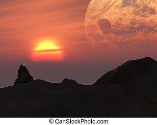 כוכב לכת, פנטזיה, שקיעה, טאררה