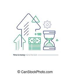כוס, ארוז, השקעה, כסף, חול, קו של זמן, מושג, איקונים, פדה, כספי