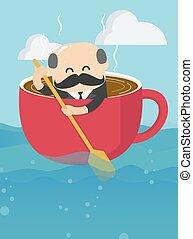 כוס של קפה, התמדה, איש עסקים, לשיט, בוס