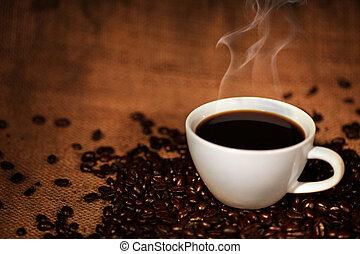 כוס של קפה, שעועיות, צלה