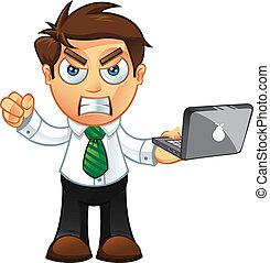 כועס, -, מחשב נייד, איש של עסק