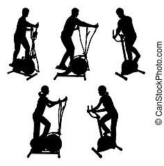 כושר גופני, אולם התעמלות, אופניים, אנשים