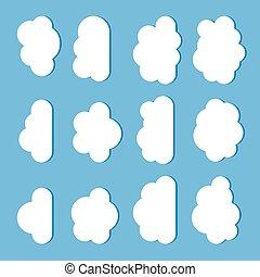 כחול, איקונים, הפרד, דירה, קבע, ענן, סיגנון, רקע לבן